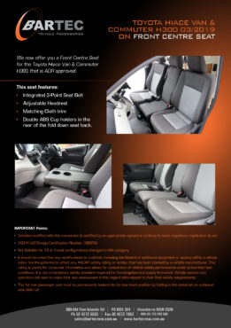 Toyota Hiace Van & Commuter H300 03/2019 on Front Centre Seat